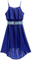 Sweet Heart Rose Belted Crochet Popover High-Low Dress, Big Girls (7-16)