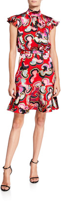 Saloni Pheobe Printed Cap-Sleeve Flounce Dress