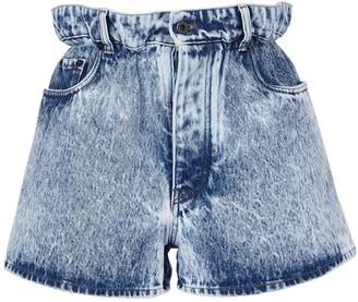 Miu Miu High Waist Washed Cotton Denim Shorts
