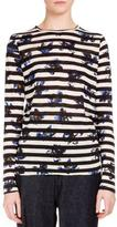 Proenza Schouler Long-Sleeve Falling-Flower Striped T-Shirt, Stripe Cobalt Flower
