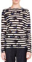 Proenza Schouler Long-Sleeve Falling-Flower Striped T-Shirt