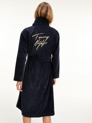 Tommy Hilfiger Metallic Logo Organic Cotton Towelling Robe