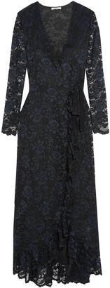 Ganni Flynn Ruffle-trimmed Lace Maxi Wrap Dress