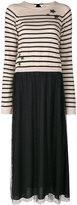 RED Valentino striped pleated dress - women - Polyamide/Polyester/Spandex/Elastane/Wool - S