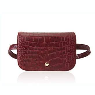 The Lovely Tote Co. Women's 2-Ways Fanny Pack Cross-body Bag Mini Waist Bag Leather Felt Cell Phone Pouch
