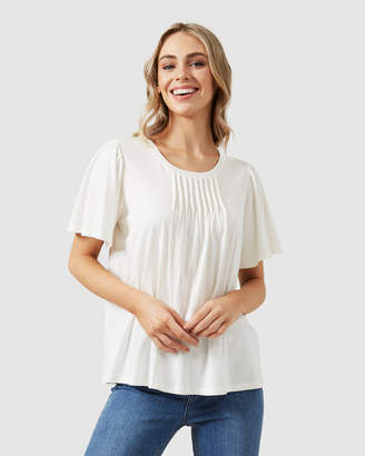 French Connection Pleated Flutter Sleeve Tee