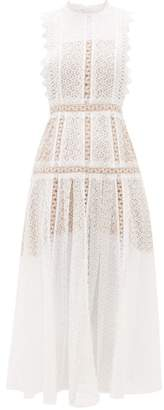 Self-Portrait Self Portrait Panelled Lace Midi Dress - Womens - White
