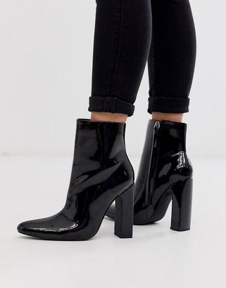 Public Desire Raiyn block heeled ankle boots in black vinyl
