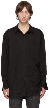 Yohji Yamamoto Black Wrinkled Shirt