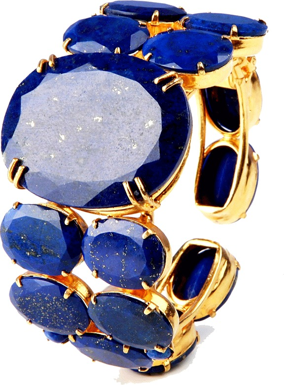 Bounkit JEWELRY Wide Faceted Lapis Cuff