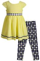 Youngland Girls 4-6x Chiffon Dress & Daisy Print Leggings Set