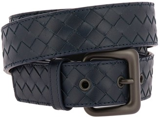 Bottega Veneta Woven Leather Belt With Classic Buckle