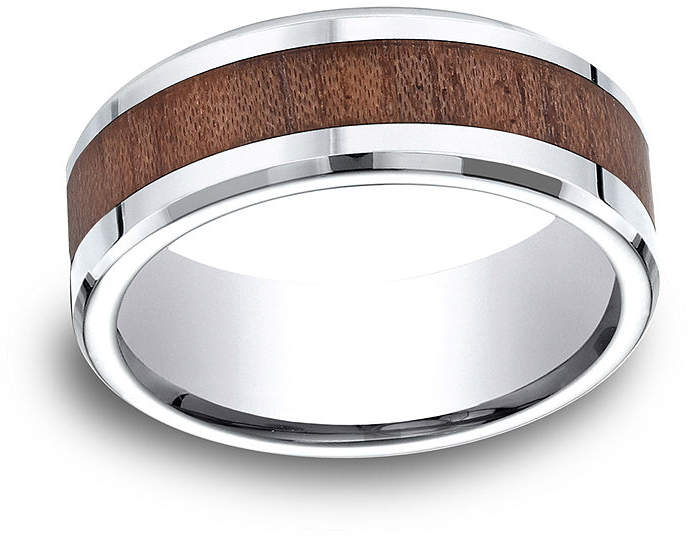 JCPenney MODERN BRIDE Mens Comfort Fit 8mm Cobalt with Rosewood Inlay Wedding Band