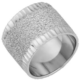 Fremada Argento Italia Rhodium Plated Sterling Silver Sandstone Finish Bold Ring