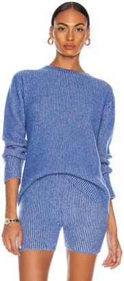 The Elder Statesman Medium Rib Relaxed Crew Sweater in True Blue & Ivory   FWRD