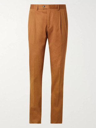 Slim-Fit Pleated Stretch-Cotton Twill Suit Trousers