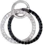 Sabrina Silver Sterling Silver Twin Circles Micro Pave CZ Pendant Black & stones, 3/4 inch in diameter