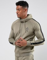 Gym King Track Hoodie In Khaki With Black Stripe