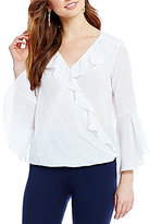 I.N. San Francisco Ruffle Surplice Long-Sleeve Blouse