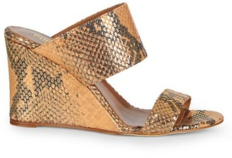 Paris Texas Lame Python-Embossed Leather Wedge Mules