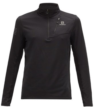 Salomon Grid Half-zip Stretch-jersey Top - Black