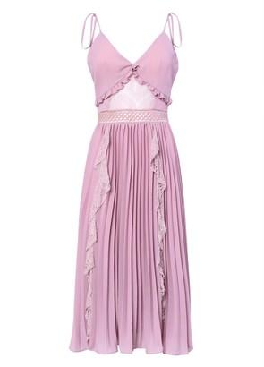 True Decadence Pink Mauve Cami Pleated Low Back Midi Dress