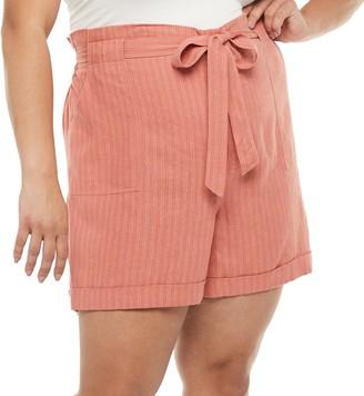 Sonoma Goods For Life Plus Size Now + Gen by Linen Blend Paper-Bag Waist Shorts
