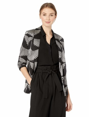 Majestic Filatures Women's Cotton Cashmere Silk Crane Print Open Blazer