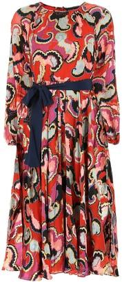 Saloni Coral Midi Dress