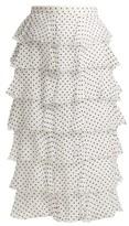 Rodarte Flocked Polka-dot Chiffon Skirt - Womens - Black White
