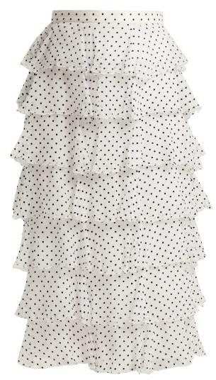 Rodarte Flocked Polka-dot Chiffon Skirt - Black White