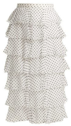 Rodarte Flocked Polka-dot Chiffon Skirt - Black White