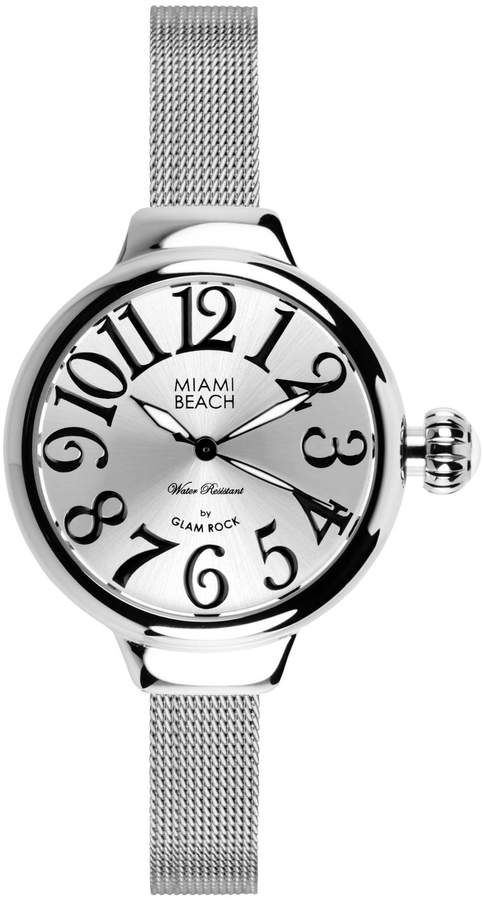 Glam Rock Art Deco Collection Women's Quartz Watch with Dial Analogue Display and Stainless Steel Strap 0.96.3062