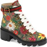 Gucci Trip GG Floral GG Supreme Combat Boot