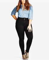 City Chic Trendy Plus Size Asha Black Wash Skinny Jeans