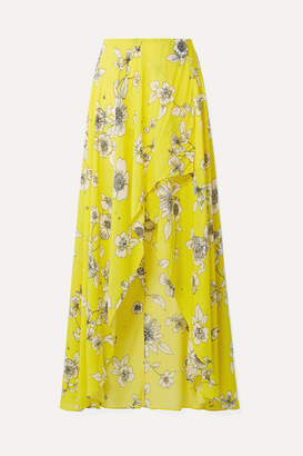 Alice + Olivia Kirstie Wrap-effect Floral-print Chiffon Maxi Skirt - Yellow