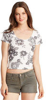 Aeropostale Womens Prince & Fox Large Floral Bodycon Cropped Top Ivory