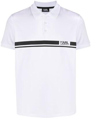 Karl Lagerfeld Paris Striped Branded Polo Shirt