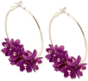 Zenzii Gold-Tone Resin Flower Cluster Hoop Earrings
