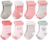 Hudson Baby Pink Stripe Bird Terry Cloth Eight-Pair Socks Set