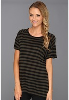 Vince Camuto TWO by Bold Slouchy Stripe Tee (Dark Leaf) - Apparel
