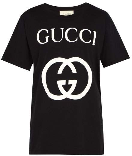 Gucci Logo Print Cotton T Shirt - Mens - Black White