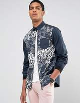 Versace Zip Thru Shirt With Tiger Print In Regular Fit