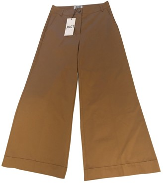 Just Female Camel Cotton Trousers for Women