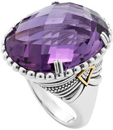 Lagos Silver Amethyst Ring with 18k Gold, Size 7