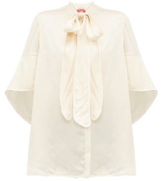 F.R.S For Restless Sleepers Diana Pussy-bow Hammered-satin Blouse - Womens - Cream