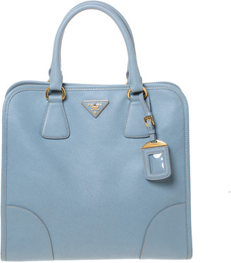 Prada Light Blue Saffiano Lux Leather Tote