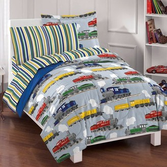 Dream Factory Trains Bed in a Bag Bedding Set, Blue