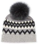 Bergdorf Goodman Fair Isle Cashmere Fur-Pom Beanie Hat, Gray