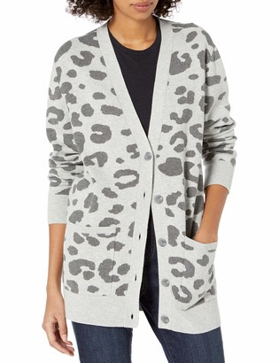 Daily Ritual Women's Standard Ultra-Soft Leopard Jacquard Cardigan Sweater Heather Grey Print Large